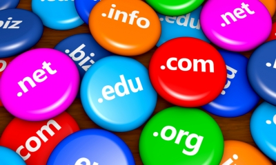 Website and Internet domain name web concept with domains sign on colorful badges