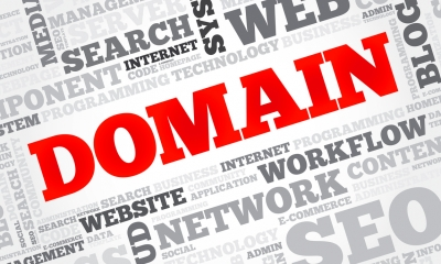 The word 'DOMAIN' in bold and red writing next to grey digital marketing jargon