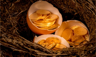 Three eggshells in a birds nest full of gold coins