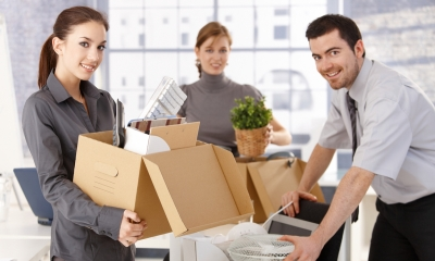 A group of people during premises move