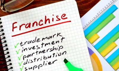 Piece of paper with 'Franchise' written in red ink with a list written underneath