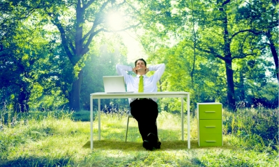 Man working at desk in forest