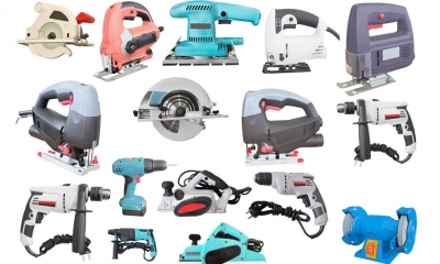 Multiple different electrical tools with white background