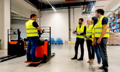 Staff receive safety training on the use of a forklift truck