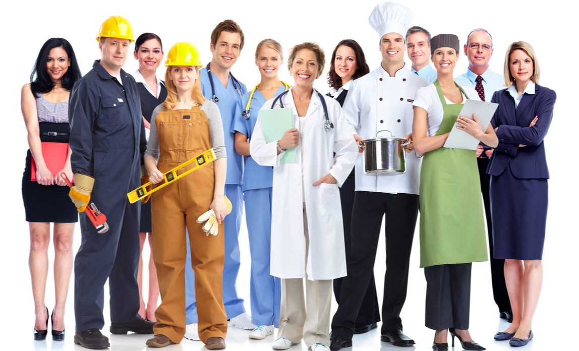 Group of people from all industries wearing the dress code for that sector