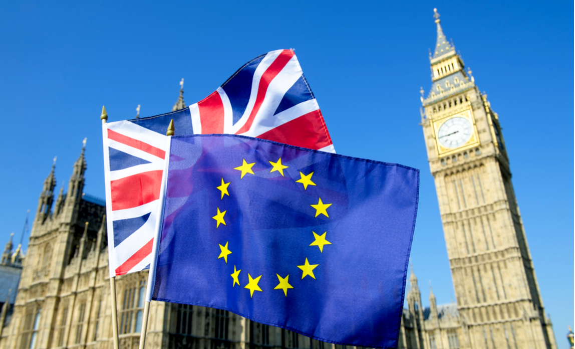 The Union Jack flag and European Union flag flying in front of Big Ben in London