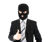 Business man in black mask