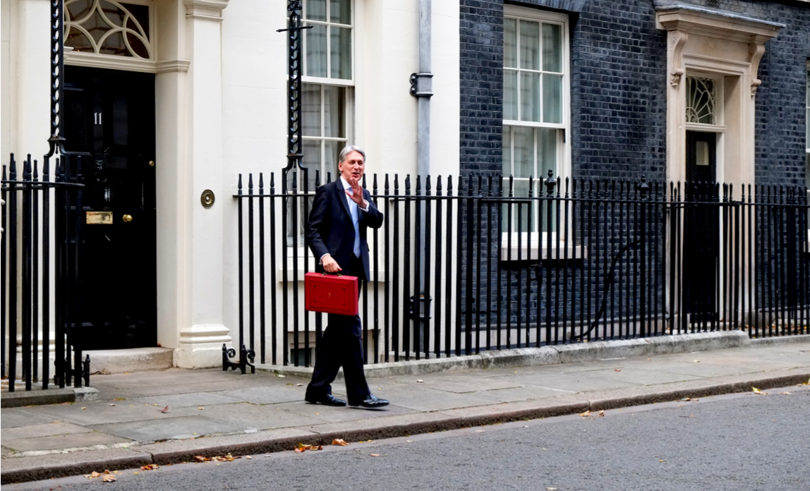 Chancellor Philip Hammond leaves No 11 Downing Street for the Houses of Parliament where he will deliver his Budget